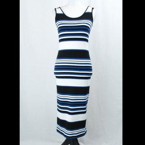 Topshop Sleeveless Bodycon Midi Dress Stripes